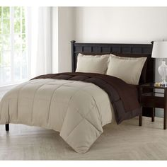 7 Piece King Taupe Brown Double Sided Bed in a Bag Comforter Shams Sheet Set
