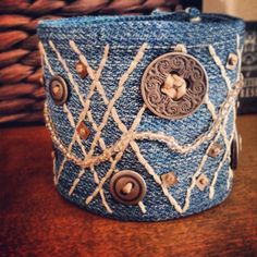 Upcycled denim cuff bracelet