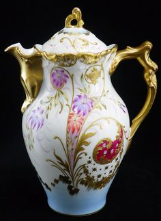 Rare Limoges H/P French Chocolate Pot ~ Lewis Straus & Sons (LS&S) #Limoges
