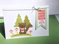 """Geburtstagskarte mit dem Biber """"Aus Foxy Friends"""" - in einer kleinen Waldlandschaft - Stampin up https://luxusbasteln.wordpress.com/"""