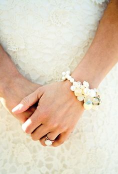 The bride wore a vintage bracelet loaned to her by a close friend. Tinywater Photography.