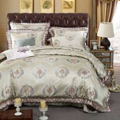 Romantic Bedspread King Size Jacquard Embroidery silk Bedding Set cotton satin duvet cover 4/5pc bed clothes chinese linens girl #Affiliate