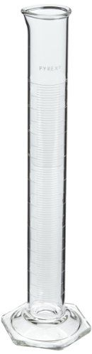 """Pyrex Economy graduated cylinders are double-metric calibrated """"To Contain"""" (TC). Height: approximately Outer Diameter: approximately."""