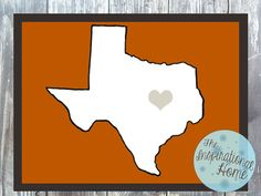 Customizable #Texas with A Heart Print Digital File by TheInspirationalHome, $15.00 #UniversityofTexas #homedecor #walldecor