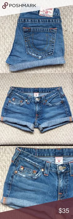 True Religion Cut Off Denim Jean Shorts Cut off jean shorts. Gently used and in good condition! Size 30 True Religion Shorts Jean Shorts
