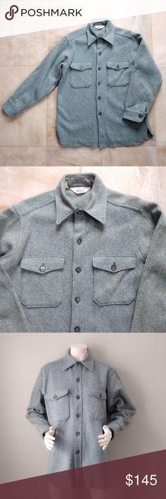 34a0ba113a731 Vintage Woolrich Teal Tweed Wool Shirt Jacket L Rare Woolrich wool shirt /  barn jacket.