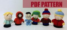 PDF CROCHET PATTERN South Park 6 Characters by AmiAmaLiliumDesigns, $5.00