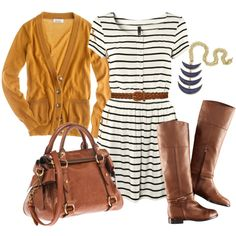 love it...but i wouldn't put the riding boots with the nautical dress...how about caramel colored flats?