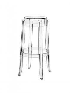 The Charles ghost style bar stool is a clear acrylic bar stool with a foot rail for comfortable sitting. The Casper bar stool looks great by itself, or dressed up with a top cushion. The silhouette-inspired design of this bar stool is a sure attention-gra