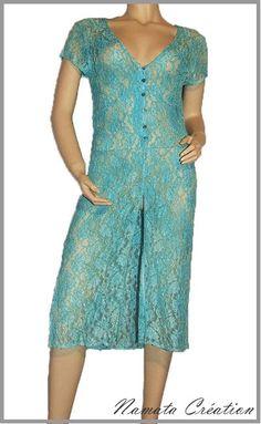 Veste ou gilet en dentelle turquoise se porte ouvert ou fermé, vraiment très original.