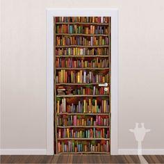 Adesivo de Porta - Estante de Livros
