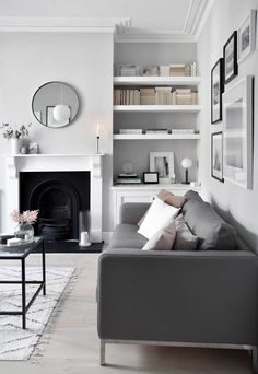 Home Renovation Design My soft, minimalist living-room makeover – the reveal Living Room Grey, Living Room Modern, Interior Design Living Room, Living Room Designs, Charcoal Sofa Living Room, Charcoal Couch, Monochromatic Living Room, Scandi Living Room, Feature Wall Living Room