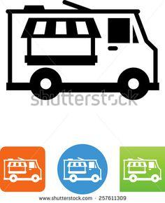 Voedsel vrachtwagen symbool voor download.  Vector pictogrammen voor video, mobiele apps, websites en afdrukken projecten.