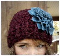 Vintage Charm...Burgundy and Blue Chunky Flower Kufi Hat by LoveDesignsBoutique