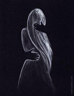 Shadow hugs. Illustration by Olga Yatsenko. www.olarty.com