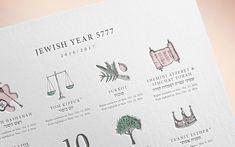 jewish holiday calendar / designed by one plus one design. via FPO #letterpress #print