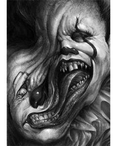 1 I want Evil Clown Tattoos, Scary Tattoos, Creepy Drawings, Dark Art Drawings, Scary Clown Drawing, Zombie Drawings, Clown Horror, Arte Horror, Evil Clowns