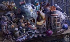 Hidden object scene - Bailiffs table by aleksandr-osm on DeviantArt