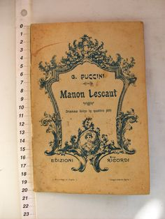 Manon Lescaut Opera Libretto music by G by SuzsCollectibles, $90.00