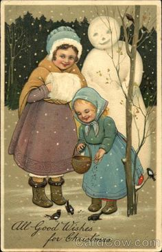 Girls in Snow with Snowman Children Snowmen
