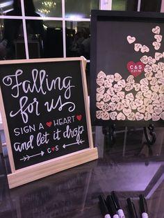 Wedding guest book alternative - Heart Drop Box Instructions - Chalkboard