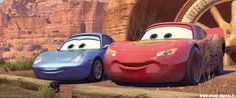 Instead of making the cars' headlights the eyes in Cars, as is done on most cartoons, the Pixar artists decided to put the eyes up on the windshield, because that made the characters more expressive. Disney Cars Movie, Disney Cars Party, Pixar Movies, Car Party, Cars 2006, Disneyland California Adventure, Audio Latino, Cars 1, Lightning Mcqueen