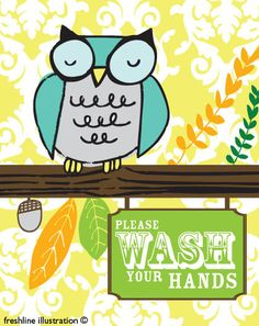 Owl on Branch on Damask Wash Your Hands Bathroom Print in Any Custom Color Scheme 8x10 Art Print. $18.95, via Etsy.