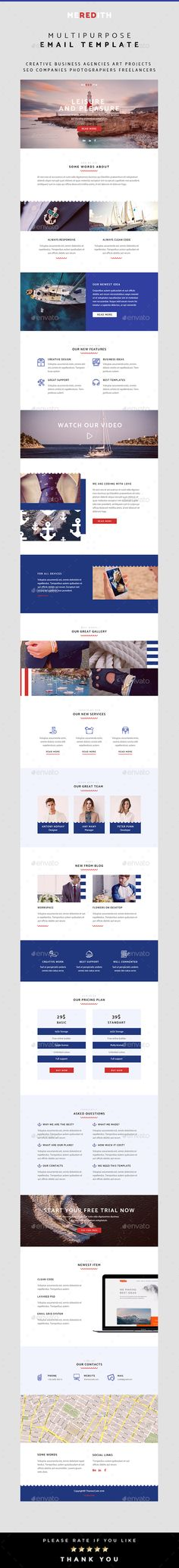 Meredith – Multipurpose Email Template by ThemesCode Email Templates, Newsletter Templates, Graphic Design, Creative Design, Graphics, Charts