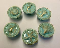 6 Drawer Pulls Knobs Seahorse Sea Turtle Fish Nautilus Starfish Nautical Beach House