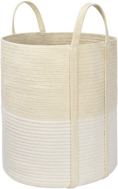 Amazon.com: LA JOLIE MUSE Woven Basket Rope Storage Baskets - Large Cotton Organizer 16 x 14 x 14 Inches, Basket for Baby Blanket, Kids Toy Nursery Laundry Basket: Baby Blanket Basket, Toy Basket, Cotton Blankets, Cotton Rope, Woven Laundry Basket, Large Storage Baskets, How To Make Rope, Basket Weaving, Beige