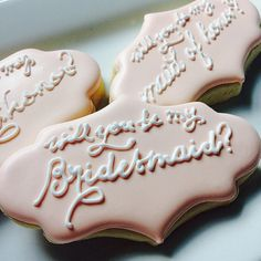 This listing is for 6 custom bridesmaid cookies! Please convo with any questions on making this order custom. Bridesmaid Ideas, Bridesmaid Proposal, Bridesmaid Flowers, Bridesmaid Gifts, Wedding Cookies, Wedding Favors, Wedding Ideas, Be My Groomsman, Groomsman Gifts