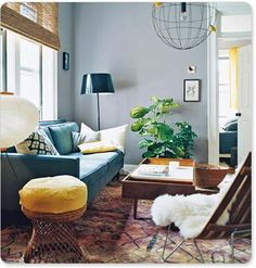 Fluffy chair, couch style, and lamps