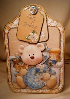 HANDMADE GREETING CARD - FESTIVE TEDDY LARGE TAG CARD - Greeting Cards