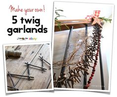 How to make 5 easy and unique twig garlands for Christmas or any season! By Funky Junk Interiors for ebay.com / @ebay