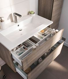 Bathroom Vanity Drawers, Small Bathroom Vanities, Bathroom Storage, Bathrooms, Bathroom Design Luxury, Modern Bathroom Decor, Modern Bathroom Design, Wc Design, Washbasin Design