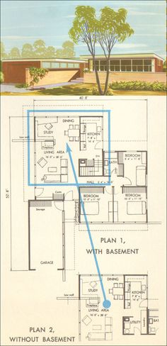 House Plan No. 5314 - Midcentury Modern - 1954 National Plan Service - Retro Homes - Residential Architecture Architecture Plan, Residential Architecture, Vintage Architecture, Mcm House, Vintage House Plans, Home Design Plans, Mid Century House, Mid Century Modern Design, House Floor Plans