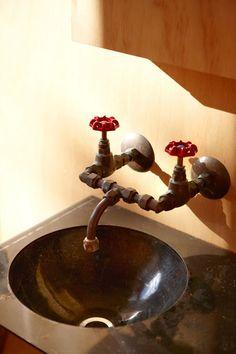 Exposed plumbing faucet