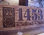 Carved Wooden Welcome Owl Address Sign Nature inspired Owl design Best Gift idea for nature and outdoor lovers!