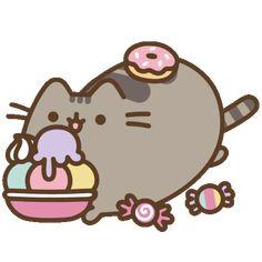 Candies and Pusheen Nyan Cat, Gato Pusheen, Pusheen Love, Pusheen Stormy, Kawaii Cat, Kawaii Wallpaper, Kawaii Drawings, Cat Drawing, Cute Wallpapers