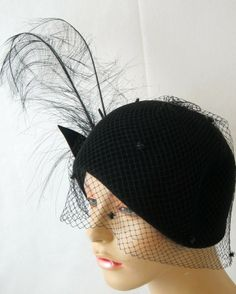 1920s Style Black Huge Feather  Rhinestones Veil  Cloche Hat | From a collection of rare vintage hats at http://www.1stdibs.com/fashion/accessories/hats/