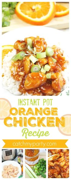 Instant Pot Orange Chicken Recipe | CatchMyParty.com Paleo Chicken Recipes, Chicken Thigh Recipes, Crockpot Recipes, Cooking Recipes, Healthy Recipes, Orange Chicken Crock Pot, Crockpot Chicken Thighs, Instant Pot Dinner Recipes, Pressure Cooker Recipes