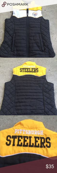 Pittsburg Steelers Puffer vest Football season is here! Represent your team with this fabulous vest! Size small. From the NFL store! Great condition. Nfl Jackets & Coats Vests
