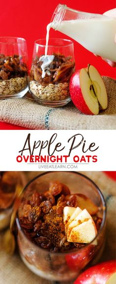 This Apple Pie Overnight Oats recipe is a cross between your grandma's famous apple pie and the millennial generation's inclination towards being busy and skipping breakfast. It's the perfect healthy breakfast idea that's vegan, gluten-free, and so full of flavor! #oats #overnightoats #breakfast Low Carb Vegan Breakfast, Healthy Breakfast Recipes, Brunch Recipes, Vegetarian Recipes, Healthy Recipes, Healthy Meals, Breakfast Ideas, Mexican Breakfast, Breakfast Pizza