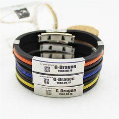 BIGBANG G-Dragon DOB Name Giyongchy Brand Symbol Titanium Wristband Bracelet  #BIGBANG #G-Dragon #DOB #Name #Giyongchy #Brand #Symbol #Titanium #Wristband #Bracelet