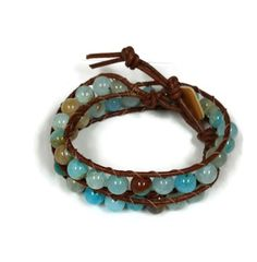 Beautiful and cool 16-inch gemstone and leather wrap bracelet