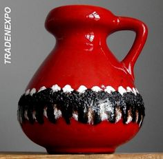 Vintage 60-70's SCHLOSSBERG 68 20 Black Fat Lava Red Vase Jug West German Art