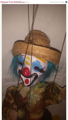 ****SOLD******10% Off Sale Vintage Mexican Clown Doll, String Puppet Straw Hat, Hand painted Composition Head, Children's Toy Puppet by JunkYardBlonde on Etsy