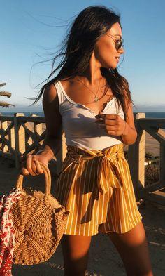 Alex West Stripe High Waisted Shorts #shoppriceless