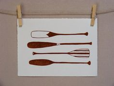Canoe  Paddle Oar Row  Hand Printed Art by WoodenSpoonEditions, $26.50