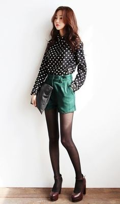 Black polka dot shirt + forest green shorts + black tights + pumps Source by LysdeMailys Japanese Fashion, Asian Fashion, Trendy Fashion, Womens Fashion, Fashion Trends, Fashion Mode, Girl Fashion, Fashion Outfits, Fashion Design